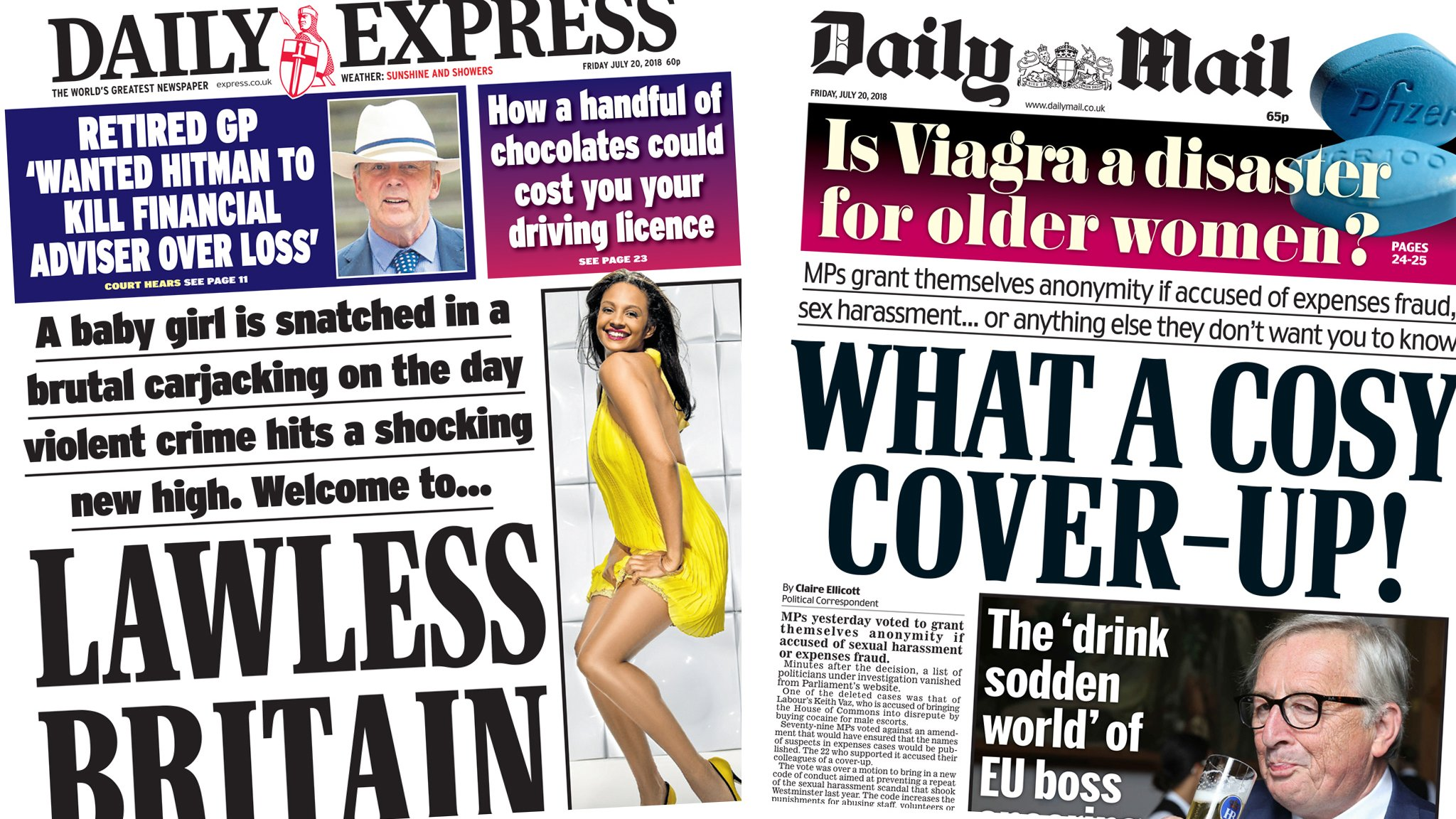 The Papers: 'Lawless Britain' and a 'cosy cover-up'
