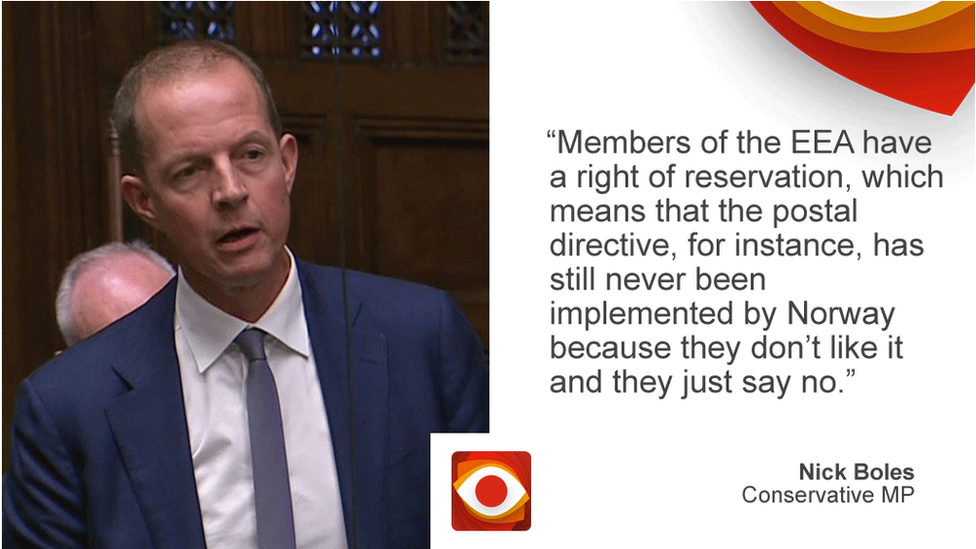Nick Boles saying: Members of the EEA have a right of reservation, which means that the postal directive, for instance, has still never been implemented by Norway because they don't like it and they just say no.