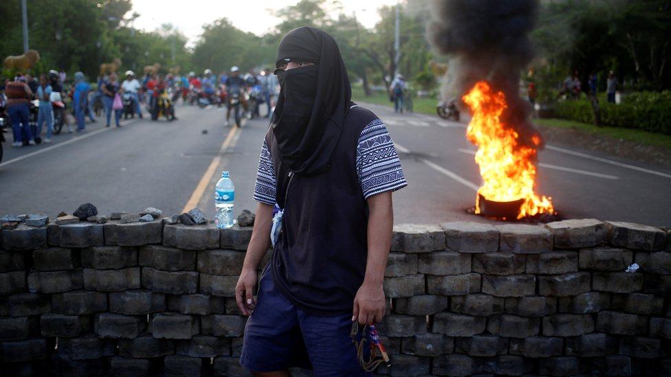 Barricada en una calle de Nicaragua