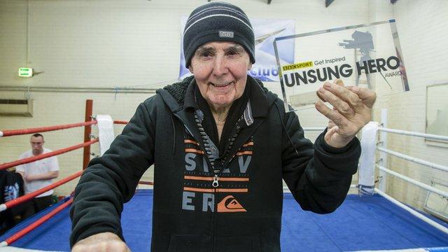 Rab Bannan holds his BBC Get Inspired Unsung Hero award