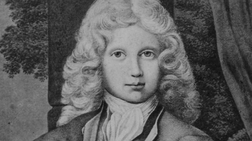 Portrait of Austrian composer Wolfgang Amadeus Mozart at the age of 11.