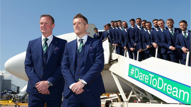 The Northern Ireland squad started their journey to Euro 2016 on Monday by flying to Austria