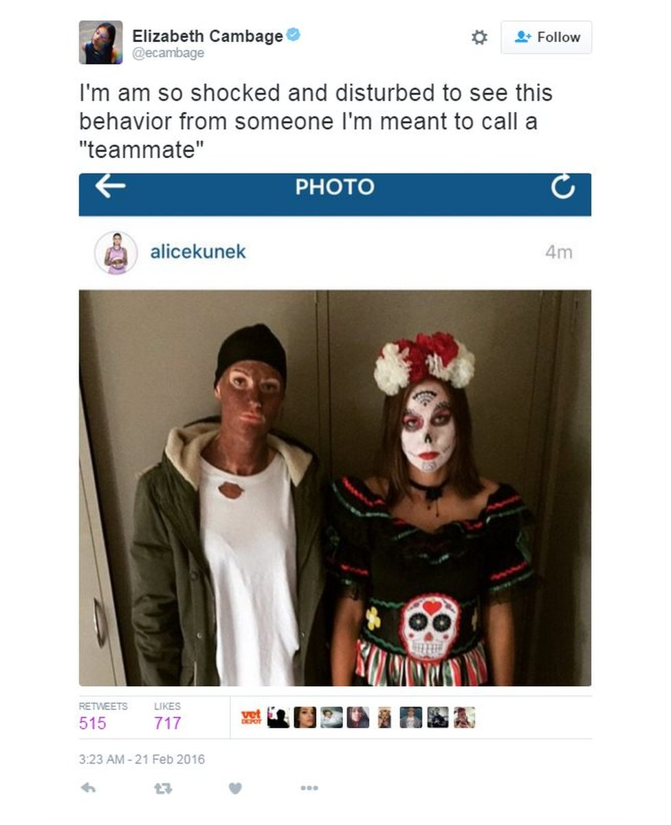 Basketballer Alice Kunek posted this photo of herself wearing blackface to her Instagram account