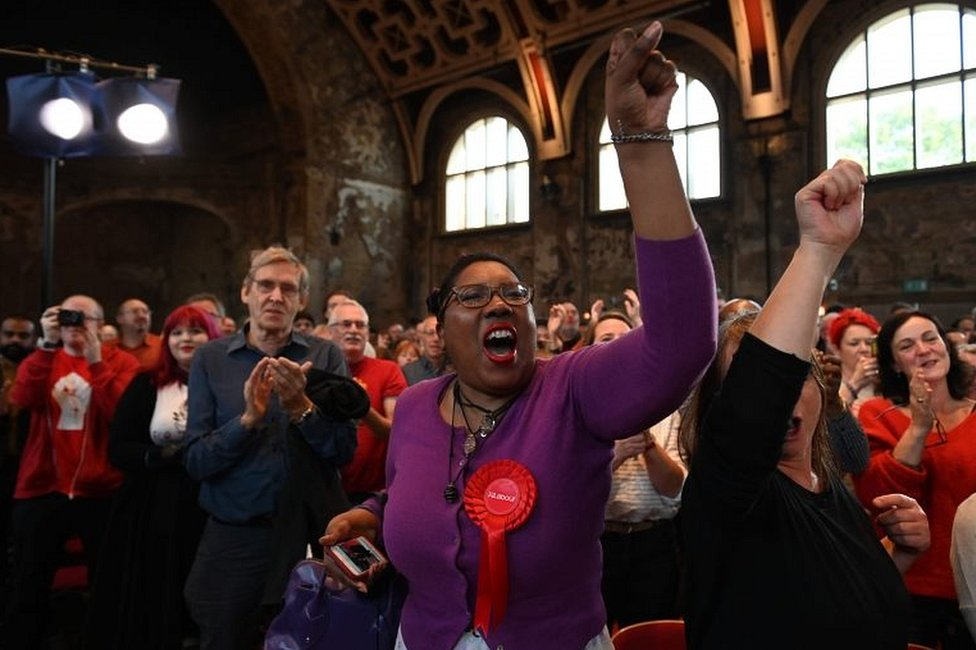 Labour supporters at Corbyn speech