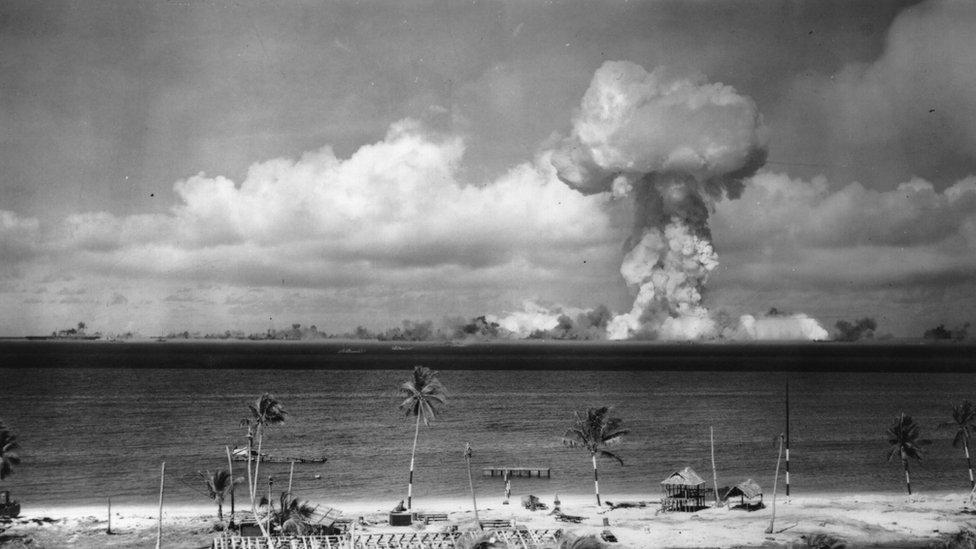 Atomic bomb text explosion on Bikini Atoll