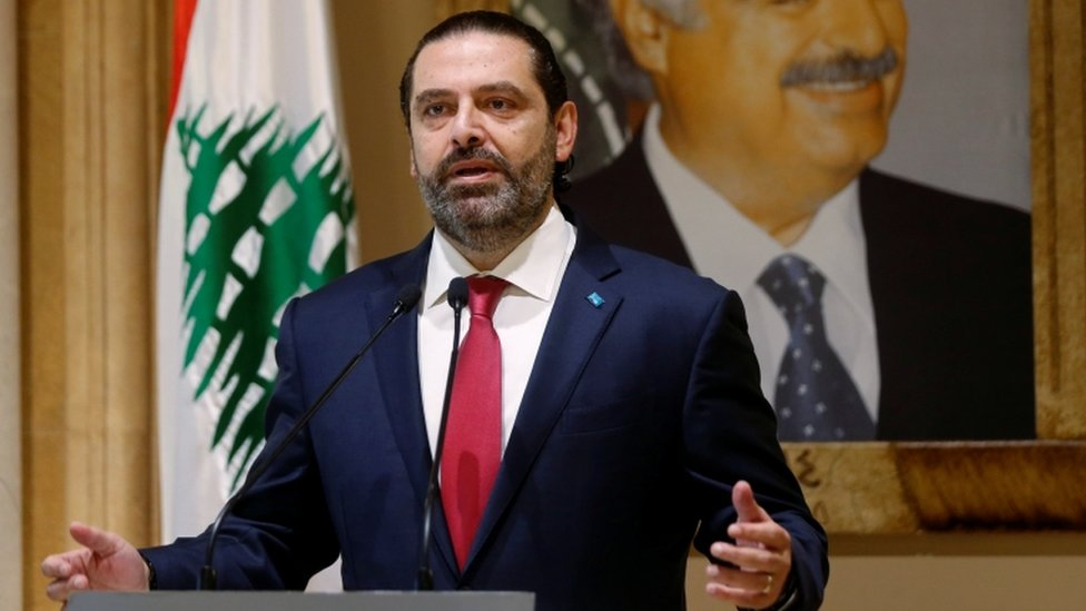 Mr Hariri announces his resignation in a televised address