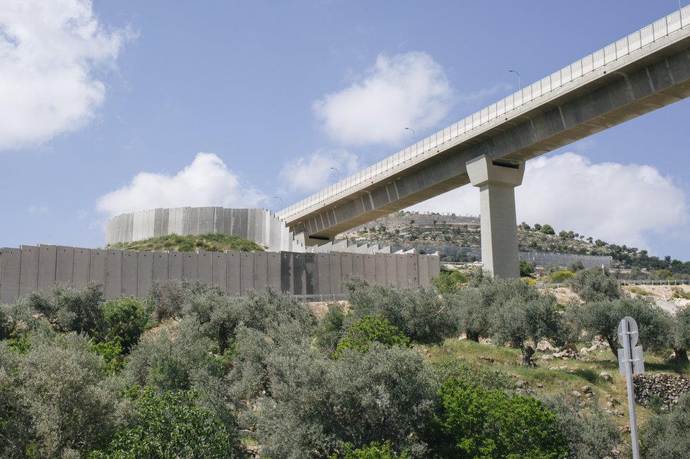 A view of roads in the West Bank