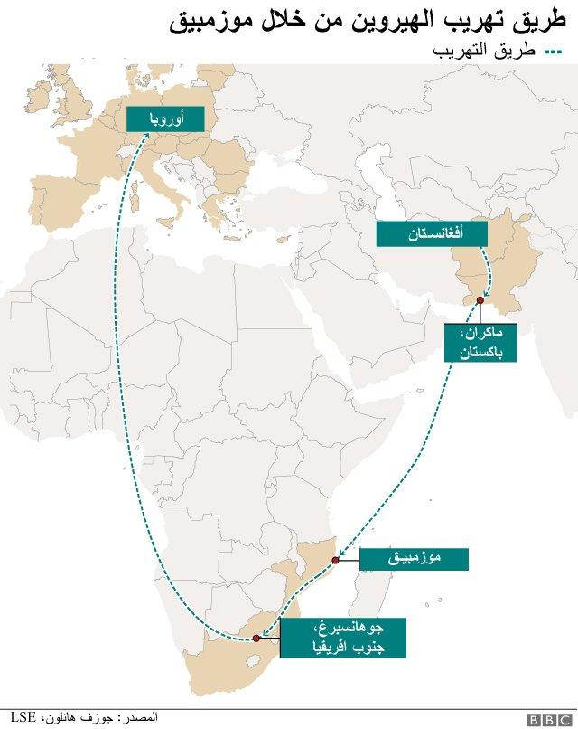 خريطة تبين مسار التهريب