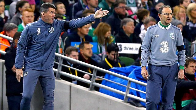 Roy Keane and Martin O'Neill on the touchline in Tuesday's game against Bosnia