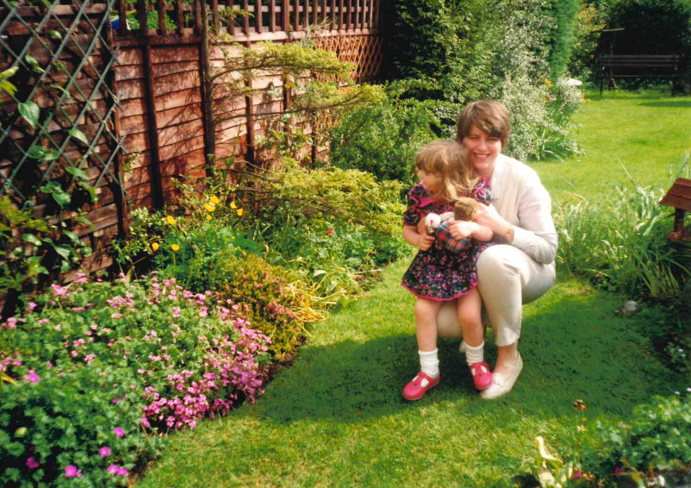 Julie and Becky in the garden