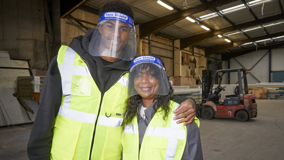 Marcus Rashford visiting FareShare Greater Manchester with his mother