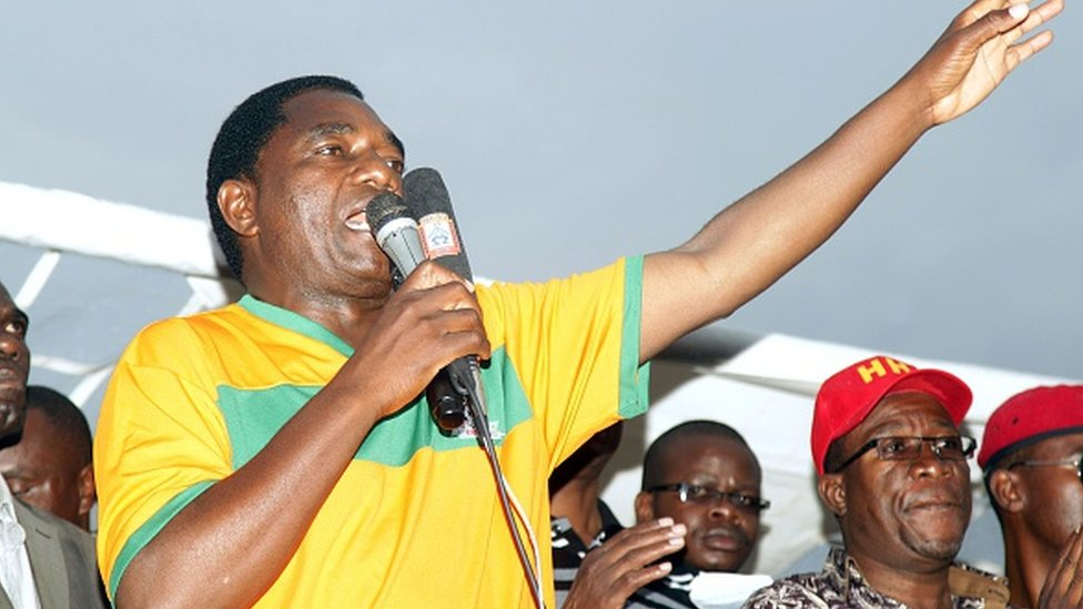 Hakainde Hichilema, leader of Zambia's main opposition United Party for National Development (UPND), addresses supporters on January 18, 2015 at Woodlands Stadium in Lusaka ahead of the country's January 20 presidential election.