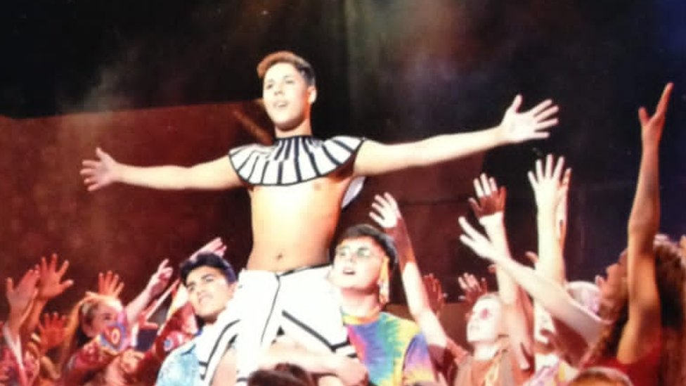 Jayden Booroff in a production of Joseph and the Amazing Technicolor Dreamcoat