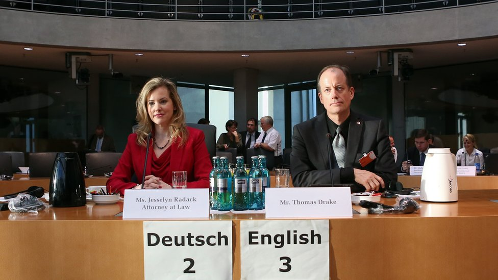 Whistleblowers Jesselyn Radack, ex-US Justice Department ethics attorney, and Thomas Drake, ex-NSA executive, testify at Bundestag, 3 Jul 14