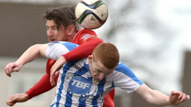 Match action from Portadown against Coleraine