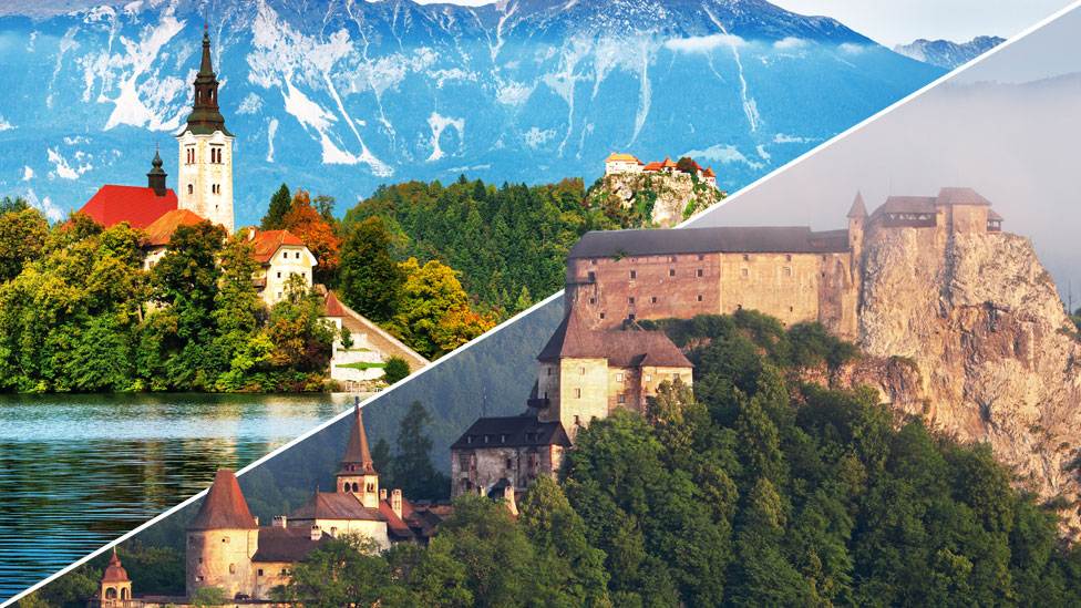 A composite image with a diagonal dividers shows Slovenia's lake Bled and a Slovakian castle