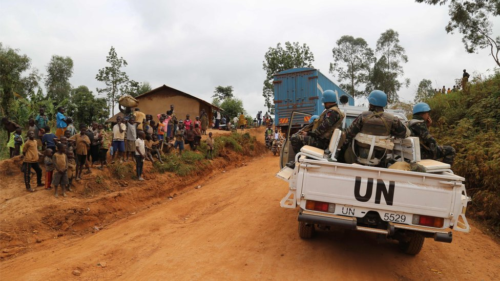 Soldados marroquíes de la misión de Naciones Unidas en territorio Djugu, en el este de la República Democrática del Congo.