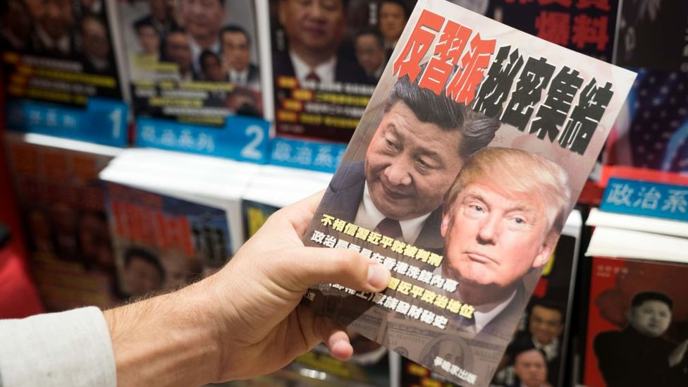 A book about Donald Trump and Xi Jinping on sale at Hong Kong airport