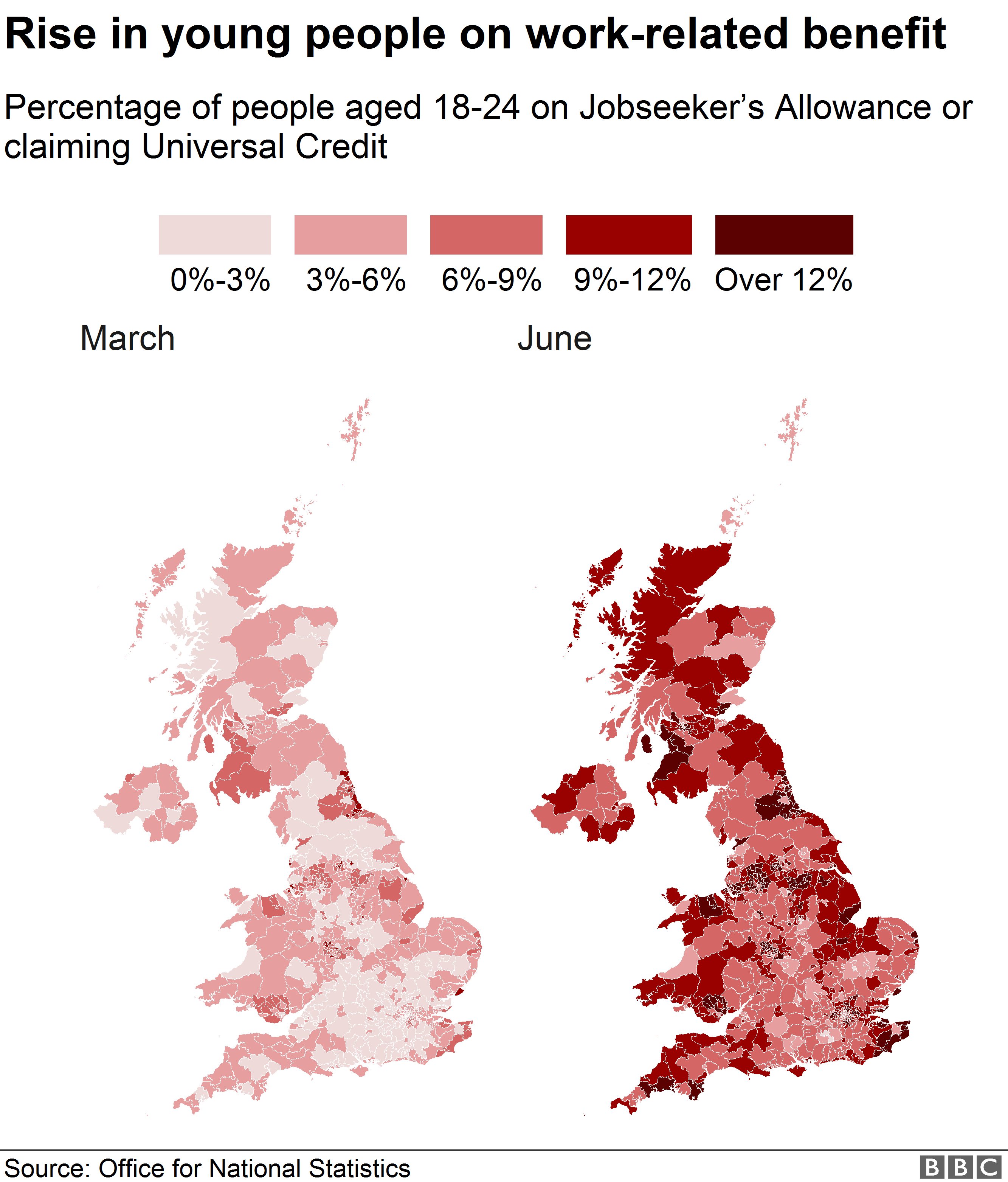 A map of the UK shows where the highest proportion of out-of-work benefit claimants are.