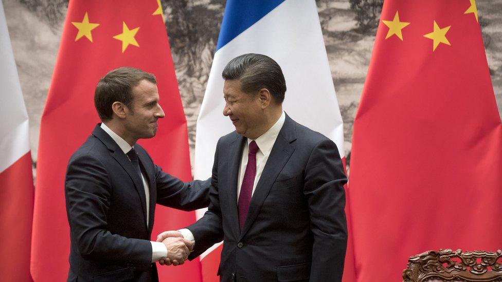 Emmanuel Macron y Xi Jinping.