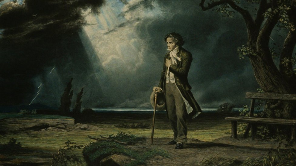 Paintin of Beethoven in the countryside, found in the Collection of Philharmonie de Paris, France.
