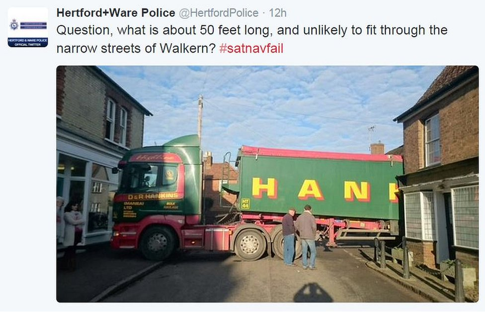 Police tweet: Question, what is 50 feet long and unlikely to fit through the narrow streets of Walkern#satnavfail
