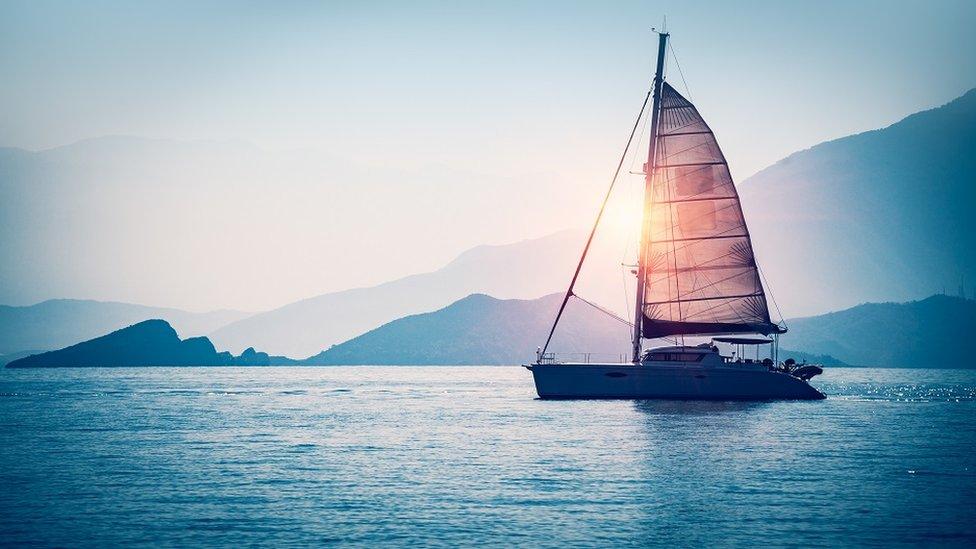 A sail boat on the Mediterranean sea