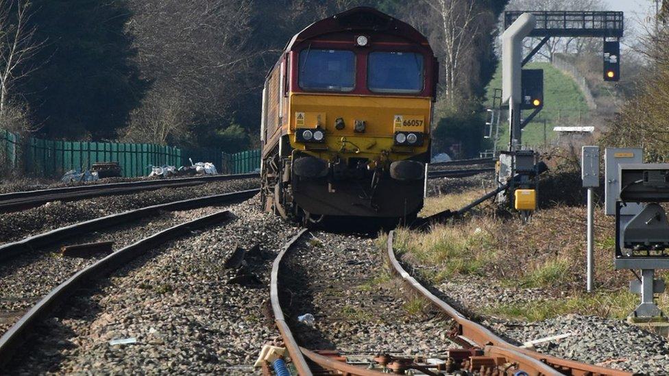 The derailed locomotive
