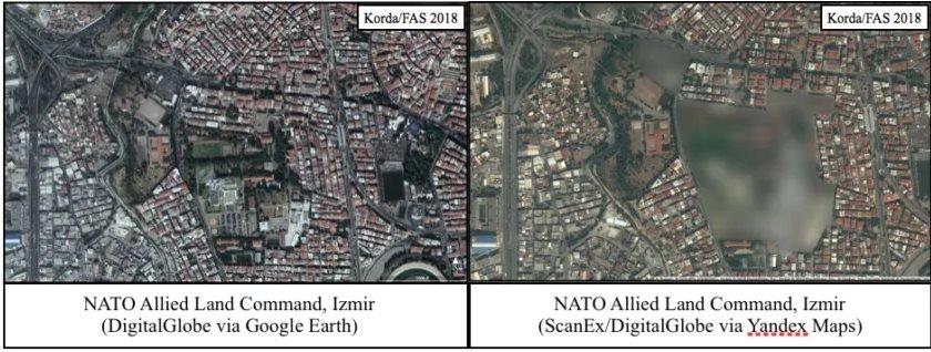 Una comparativa de las imágenes de la base de la OTAN en Turquía, de Google Earth y Yandex.