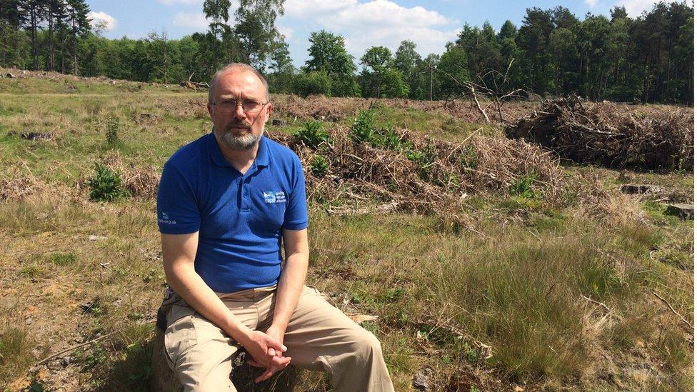 Mike Coates of the RSPB on Farnham Heath