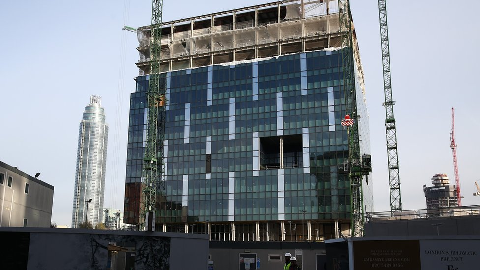 Work continues on the site of the new United States embassy in Battersea on November 23, 2015 in London, England.
