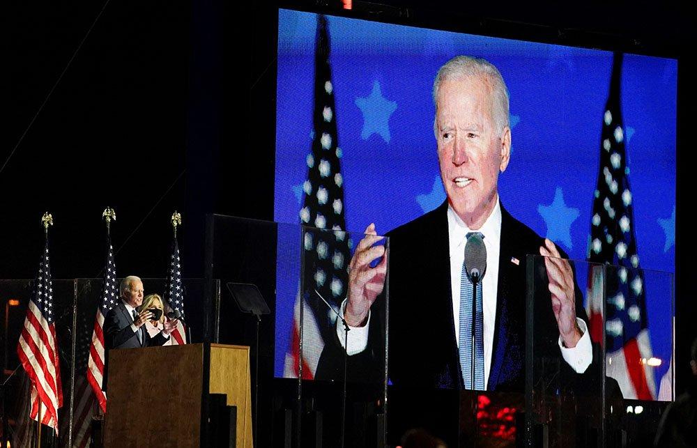 Joe Biden addresses his supporters