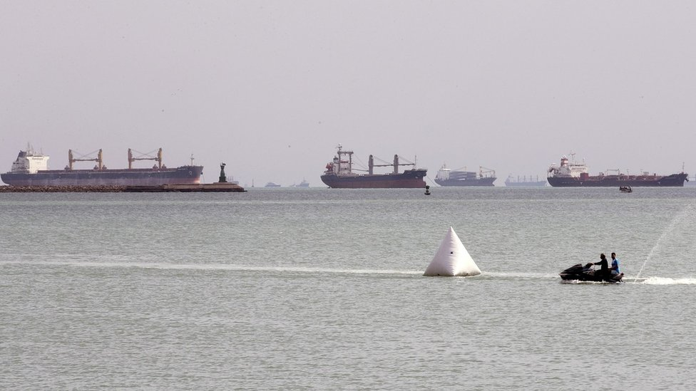 Ships anchored outside the Suez Canal at Ain Shokhna, Egypt (26 March 2021)