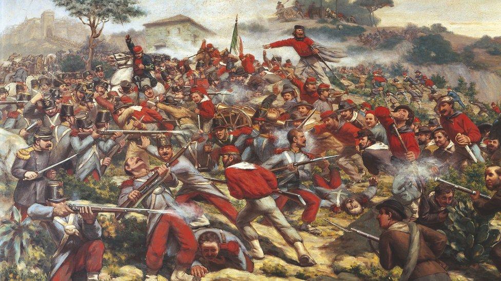 Oleo sobre lienzo de la batalla de Calatafimi, en Sicilia.