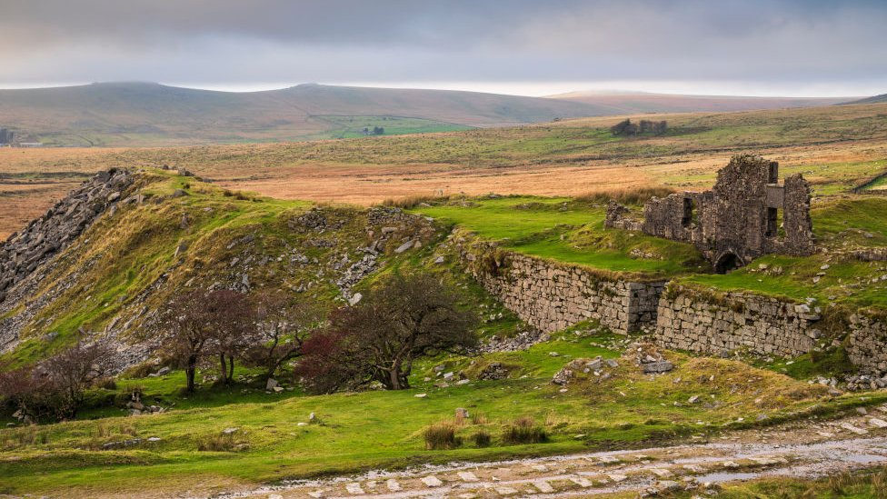 Ruins of Foggintor Quarry works in Dartmoor National Park