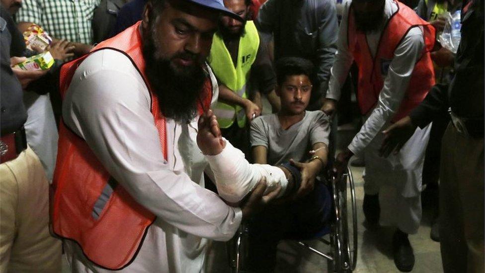 Injured man leaves hospital in Lahore