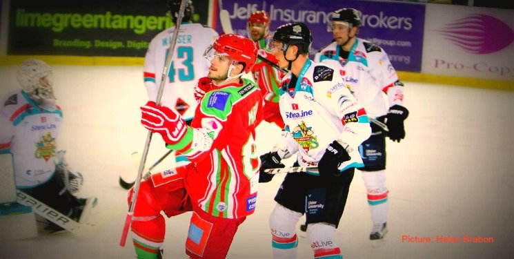 Cardiff Devils' Joey Martin in action against Belfast Giants
