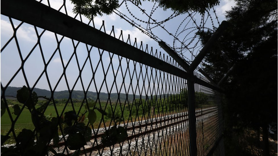 Barbed-wire fence is seen at the Imjingak Pavilion, near the demilitarized zone (DMZ) on June 16, 2020 in Paju, South Korea.