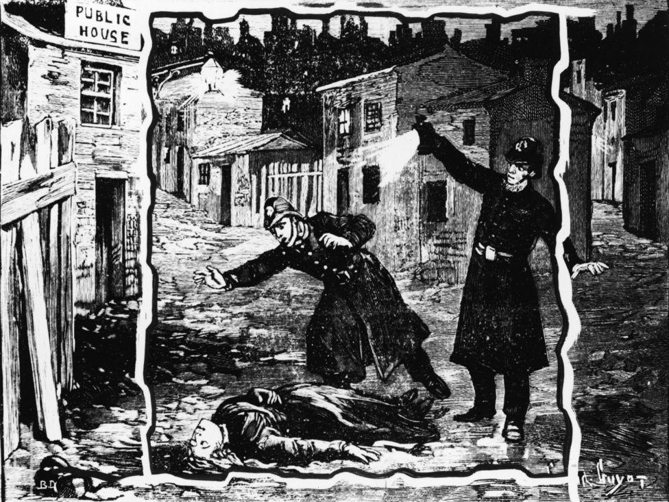 Ilustración antigua retratando al presunto Jack el Destripador
