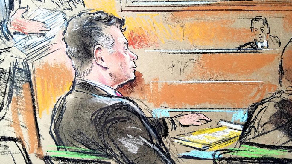 Paul Manafort (front L) in court