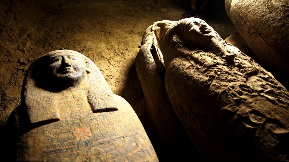 Some of the coffins found at an ancient tomb in an Egyptian necropolis near Cairo, September 9, 2020.