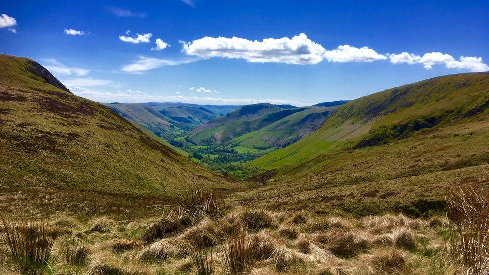 Looking down towards Llanymawddwy in mid Wales from Bwlch Y Groes