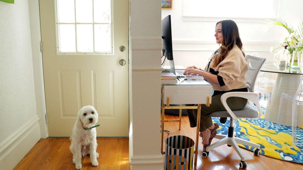 ريرا رايزي في منزلها حيث كانت تعمل خلال وباء فيروس كورونا في كاليفورنيا، 6 أبريل/نيسان 2021