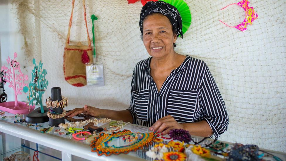 Woman selling handicrafts