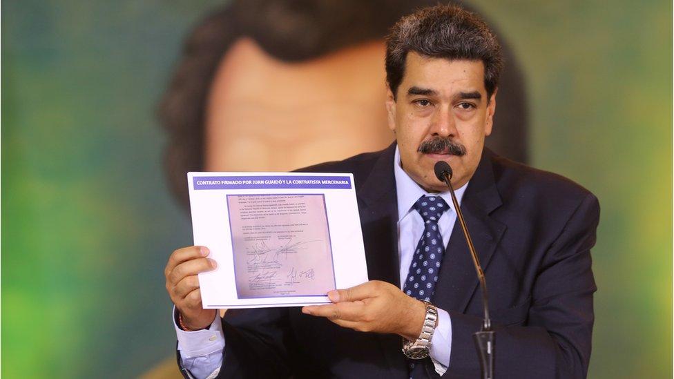 Venezuela's President Nicolas Maduro at a virtual news conference in Caracas