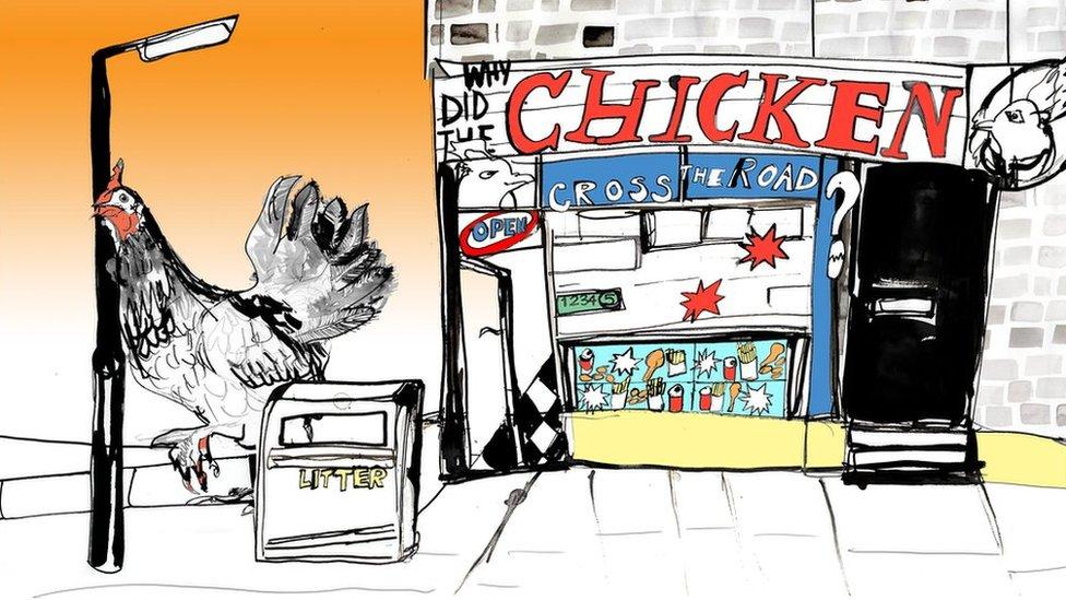 Illustration of a fast food chicken restaurant