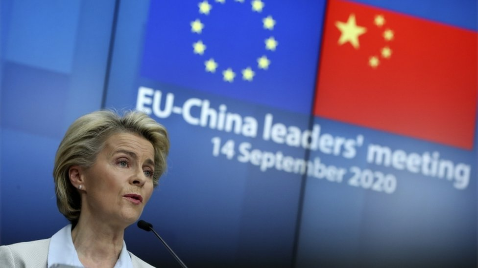 """European Commission President Ursula von der Leyen speaks during a news conference after a virtual summit with China""""s President Xi Jinping, in Brussels, Belgium, 14 September 2020"""