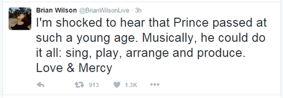 """A tweet from Brian Wilson: """"I'm shocked to hear that Prince passed at such a young age. Musically, he could do it all: sing, play, arrange and produce. Love & Mercy"""""""