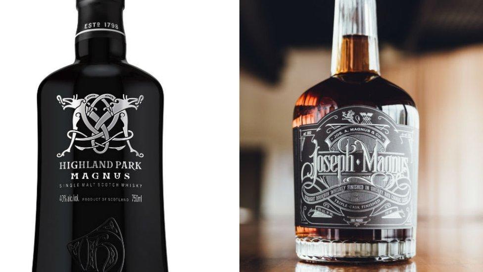 Highland Park Magnus and Joseph A Magnus & Co bottles