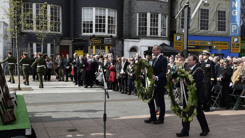 A wreath-laying ceremony was held in Cork's Grand Parade to commemorate the first shots of the Easter Rising